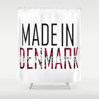 denmark Shower Curtains featuring Made In Denmark by VirgoSpice
