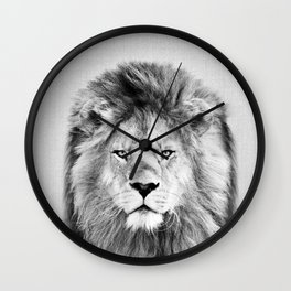 Lion 2 - Black & White Wall Clock
