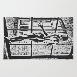 Set me free - sexy naked girl at the window, black and white erotic artwork, adult art Rug