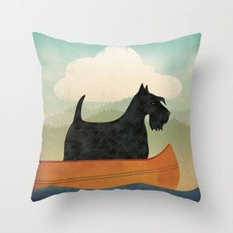 Scottish Terrier Canoe Throw Pillow
