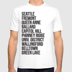 SEATTLE CITIES White Mens Fitted Tee SMALL