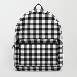 Gingham Black and White Pattern Backpack