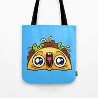 taco Tote Bags featuring Excited Taco by Artistic Dyslexia