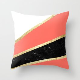 Living Coral, White, Black Marble and Gold Stripes Glam #1 #minimal #decor #art #society6 Throw Pillow