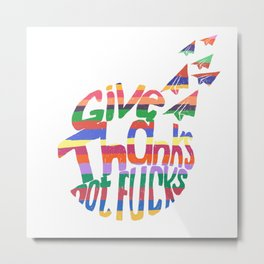 Give Thanks Rainbow Typography Metal Print