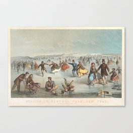 Vintage Central Park Ice Skating Painting (1861) Canvas Print