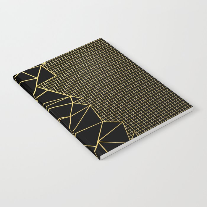 Ab Outline Grid Black and Gold Notebook