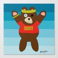 crossfit Canvas Prints featuring Crossfit Bear  by Gabriel J Galvan