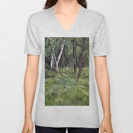 Woodland Forest Landscape Nature Art Unisex V-Neck