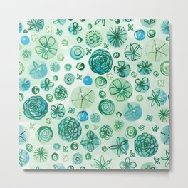 Flowers in Circles | Green Metal Print