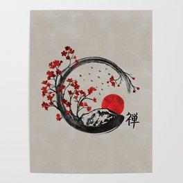 Zen Enso Circle and Sakura Branches Poster