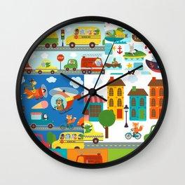 Animal Transportation Cars Trucks City Pattern Wall Clock
