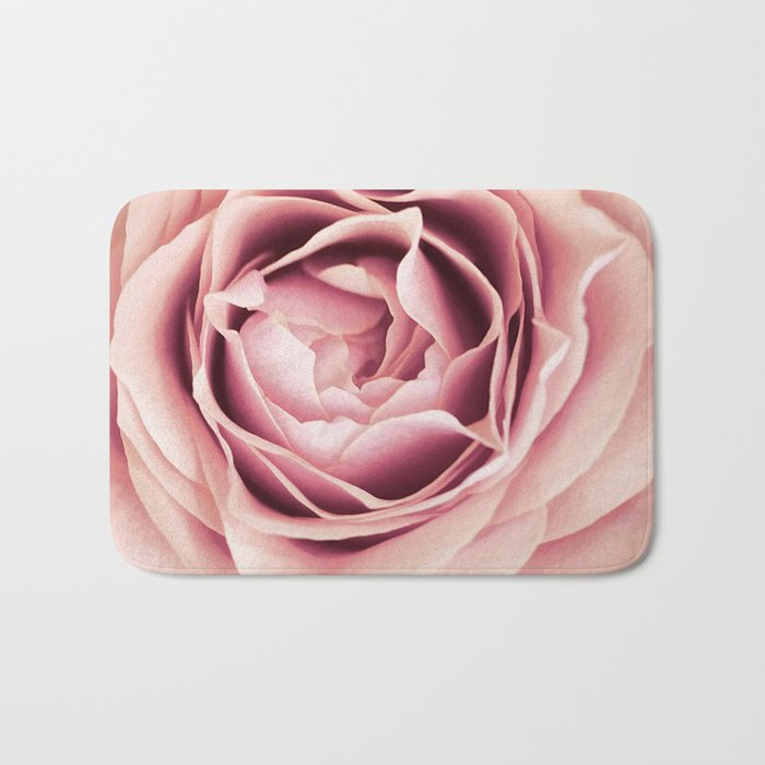 My Heart is Safe with You, My Friend - pale pink rose macro Bath Mat