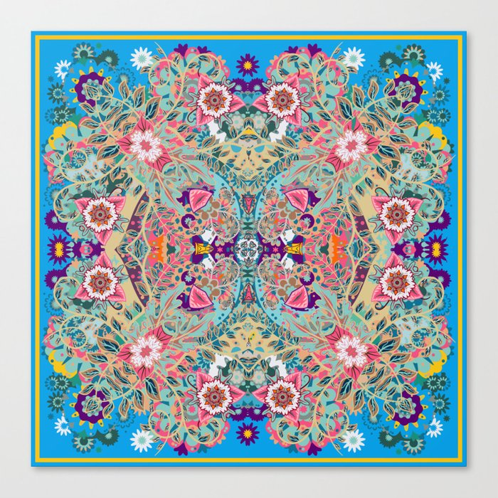 Mandala - Turquoise Boho Leinwanddruck