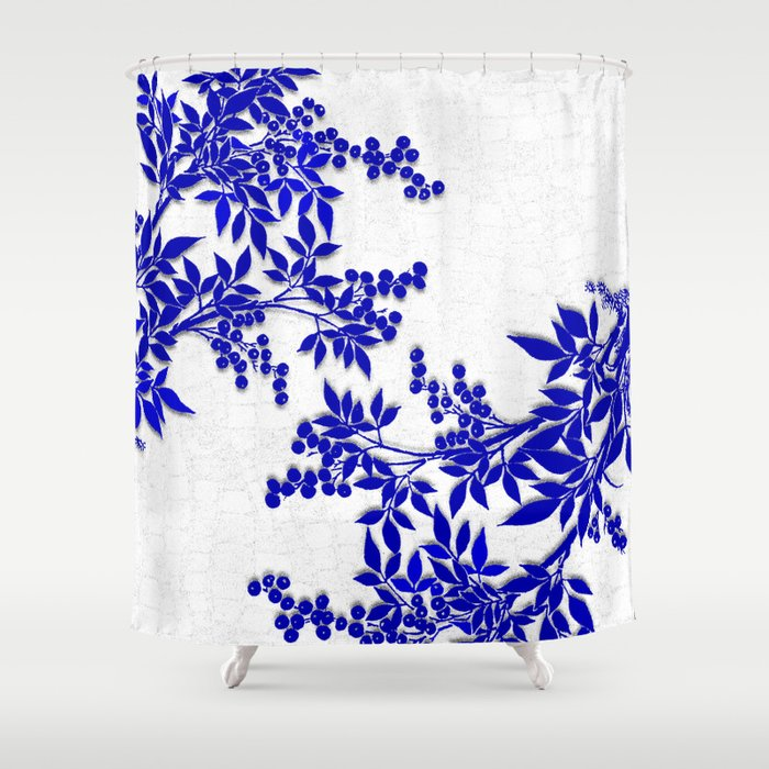 BLUE AND WHITE  TOILE LEAF Shower Curtain