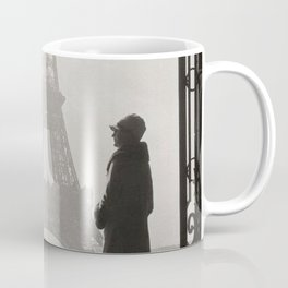 1920 Woman at the Gate, Eiffel Tower black and white photographic portrait Coffee Mug