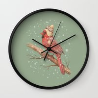snow Wall Clocks featuring First Snow  by Terry Fan