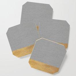 Color Blocked Gold & Grey Coaster