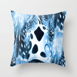 Blue Circles, Drops and Drips Throw Pillow