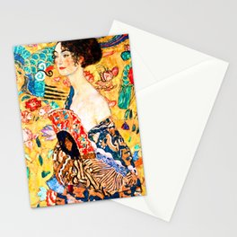 Gustav Klimt - Lady with a Fan - Dame mit Fächer - Vienna Secession Painting Stationery Cards