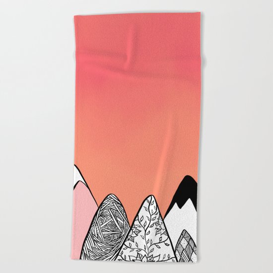 Modern abstract pink coral watercolor sky black white geometric floral mountains illustration Beach Towel