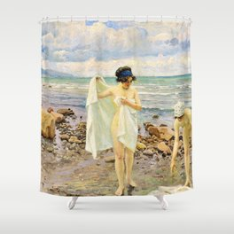 12,000pixel-500dpi - Paul Gustav Fischer - The Bathers. Two Young Women On A Beach Shower Curtain