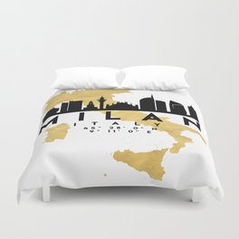 MILAN ITALY SILHOUETTE SKYLINE MAP ART Duvet Cover
