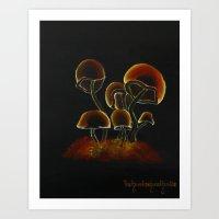 Shroom Orange Painting Art Print