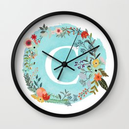 Personalized Monogram Initial Letter C Blue Watercolor Flower Wreath Artwork Wall Clock