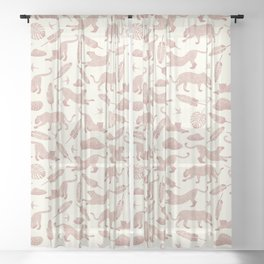Blush Safari / Wild Cats, Monstera and Birds Sheer Curtain