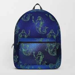 Glitter Gold Mermaid Pattern on Ocean Blue Background Backpack