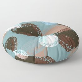 Graphic Seed Pods Turquoise and Brown Floor Pillow
