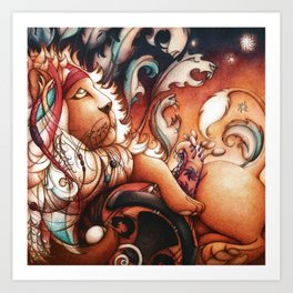 Hippy Lion Art Print