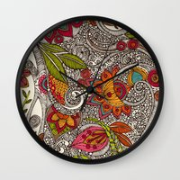 valentina Wall Clocks featuring Random Flowers by Valentina Harper