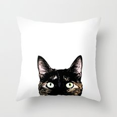 Peeking Cat Throw Pillow