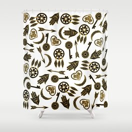 Black and Gold Popular Symbols on White Shower Curtain