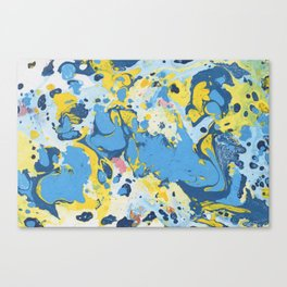 Abstract Blue & Yellow Paint Canvas Print
