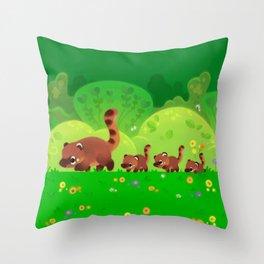 Coati family Throw Pillow