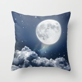 Full Moon Night in Blue Throw Pillow