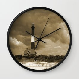 Fire Island Light In Sepia Wall Clock