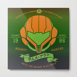 Video Game Gamer Geek Metroid Inspired Orange Armor Space Warrior Metal Print