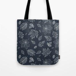Hand drawn elegant white navy blue maple leaves Tote Bag