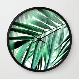 Tropical green leaves design Wall Clock