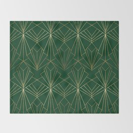 Art Deco in Gold & Green Throw Blanket