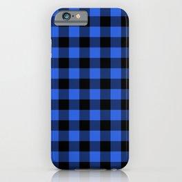 Royal Blue and Black Lumberjack Buffalo Plaid Fabric iPhone Case