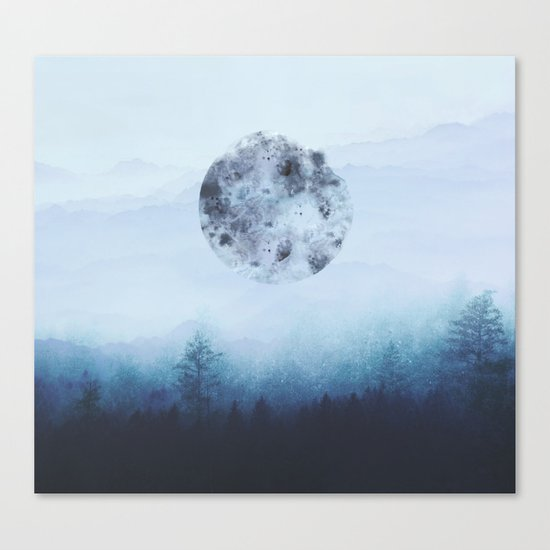 Watercolor Moon Canvas Print