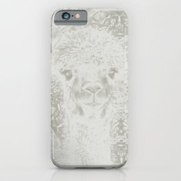 Ghostly alpaca and mandala iPhone Case
