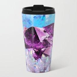SPARKLY WHITE-BLUE & AMETHYST QUARTZ CRYSTALS PURPLE ART Travel Mug