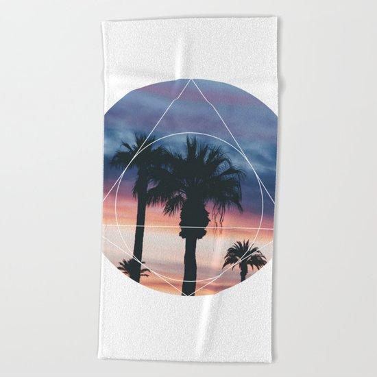 Sunset Palms - Geometric Photography Beach Towel