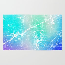 Modern turquoise purple watercolor abstract marble Rug
